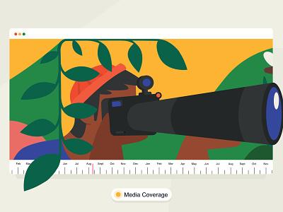 media coverage 📸 office design icon brucira uiux ui vector graphic illustration green jungle leaf cap men boy camera media