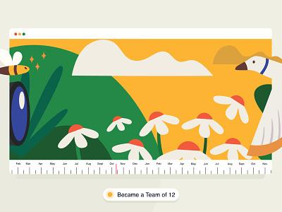 Team of 12  ✨ timeline brucira plant vector web design office graphic illustration ux ui jungle star flat design cloud bee bird