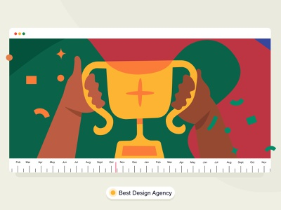 Brucira Won award 🏆 brucira web office confetti designstudio india vector achievement success hands website video gif trophy award timeline ux ui