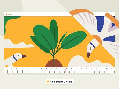 happy 3rd anniversary 🎉❤️ office timeline india ux ui vector art brucira cloud birds leaf anniversary celebrate design vector illustration
