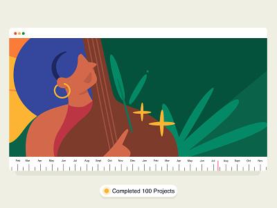 100 Stepping Stones ✨ website timeline gif ui achievement colourful vector graphic illustration women girl music musician milestone project leaf brucira mumbai india