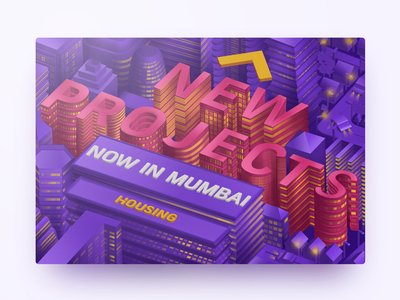 New Projects housing street light design typography city minimal buildings mumbai ui isometric 3d illustration