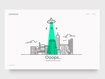 Ooops... something went wrong ! illustration city ufo 404 animation interaction line work icon design dashboard ux ui