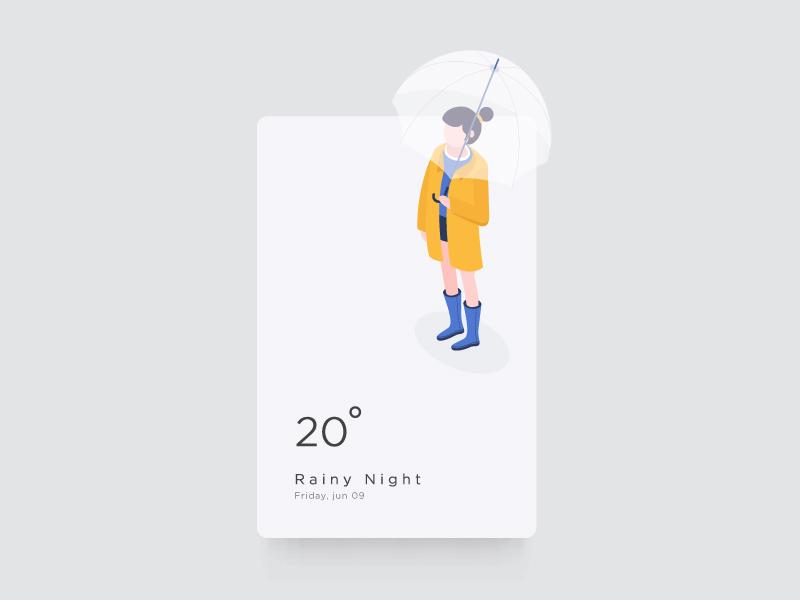 weather UI screen rain app ui illustration weather isometric 3d design mobile girl