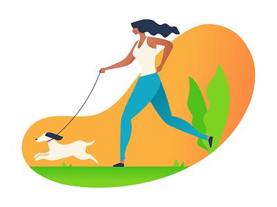 Healthy Life Illustration fitness dribbble plant illustration hair girl running jogging dog garden ui