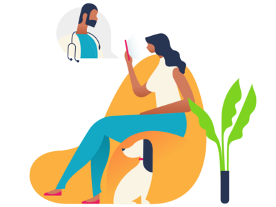 Personal Coach couch dribbble sitting girl illustration ui plant dog doctor call conference video