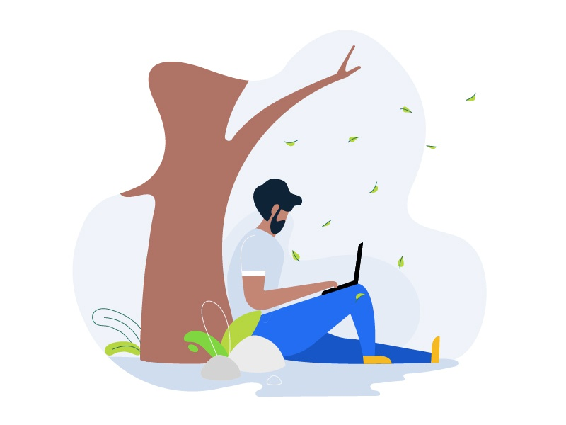 anytime anywhere ! ui graphic garden office illustration boy laptop plant leaf jungle