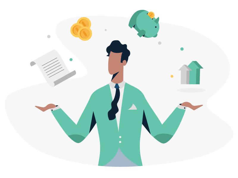 Expert Community illustration icon ui web wealth finance portfolio grow savings money investment
