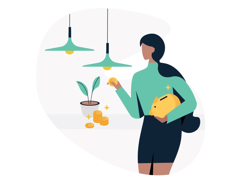 You're ready to invest ! ui bank icon illustration plant girl money leaf lamp piggyback investment