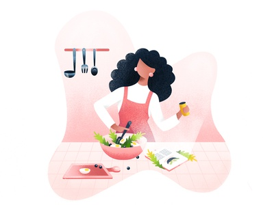 online recipe ui chef kitchen women girl illustration tab salad online food recipe cooking