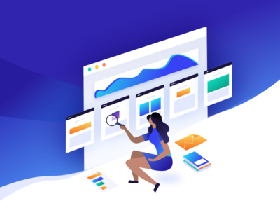 Illustration for Wp Compass woreframe template icon web ui girl search graph data illustration wordpress