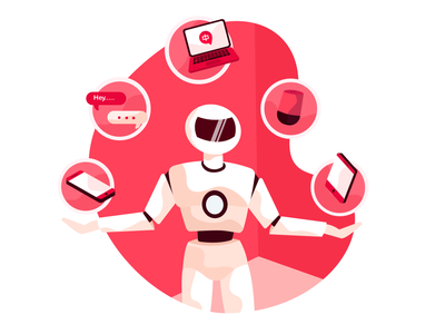 Multi Tasking Bot icon phone message chat robot bot design illustration ui