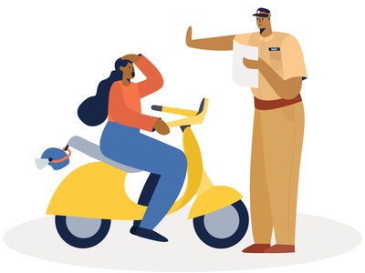 Oops ! design crime insurance ui graphic policy bike police girl illustration