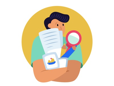 free signup brucira workplace magnify glass photos file pensil stationary boy office leaf plant app web icon ux design illustration ui