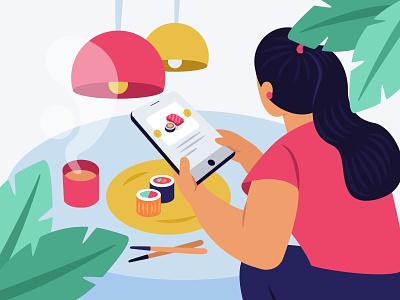 online order order online tab table lamp drinks coffee food sushi restourant plants minimal leaf plant app ux girl design illustration ui
