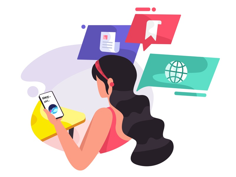 Hey Siri.. siri plants office app web mobile icon design girl ux illustration ui