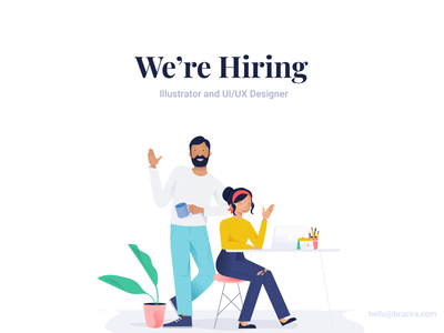 brucira is hiring ! website job application hiring job india mumbai web mobile icon plants office leaf plant vector ux ui boy girl illustration