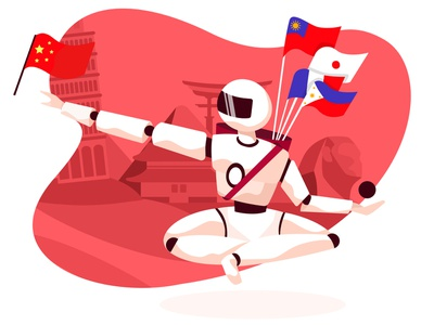 language bot flag country robot chat bot vector web ux ui illustration