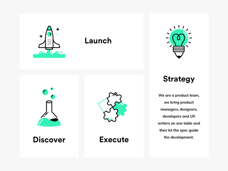 Process Icons rocket science puzzle light bulb light tube launch chemical icon ui design illustration