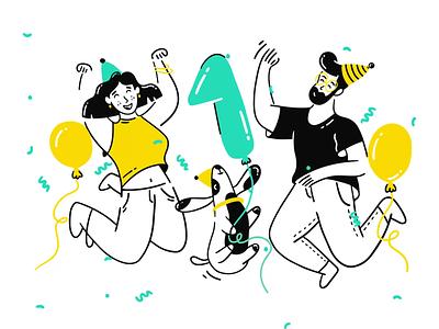 First Anniversary birthday cake illustration agency animation illustration ui birthday