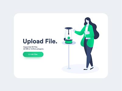 Upload File printer 3d app web girl design ux ui illustration