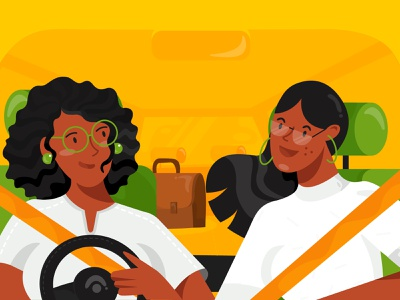 City One pooling icon bag driver taxi driver cab car office app mobile girl ui illustration