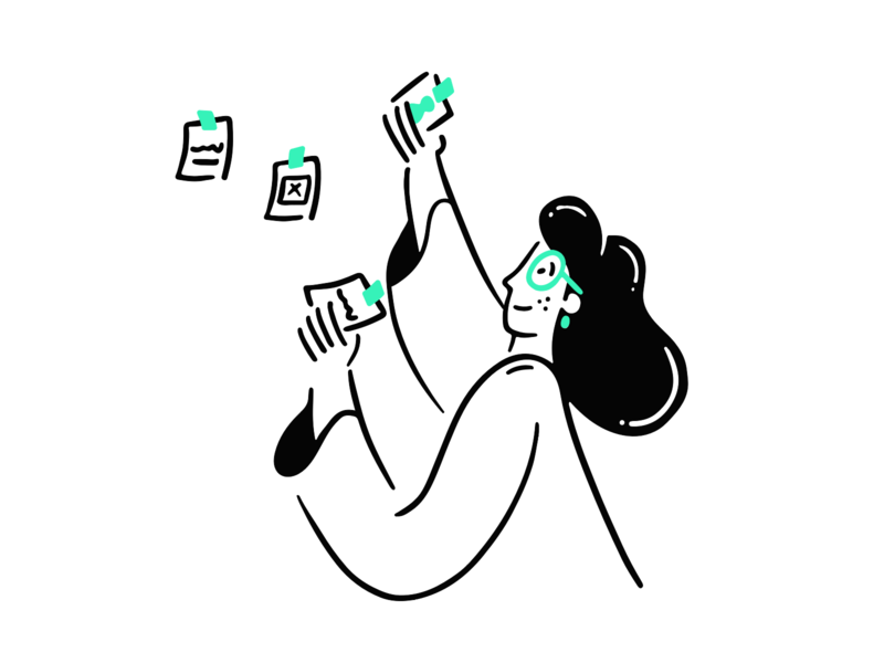 Sticky Notes office to do to task ui girl design ux illustration