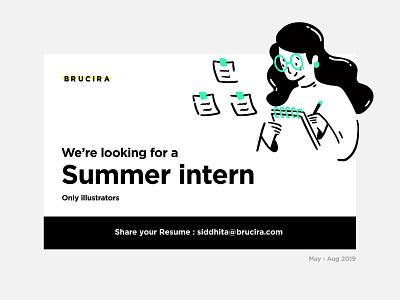 Summer internship mumbai india collage internship intern job plant note notebook minimal web vector office icon girl design ux ui illustration