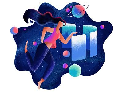 3 Dribbble Invites graphic galaxy star dribbble earth planet space invitation invite icon ui girl ux design illustration