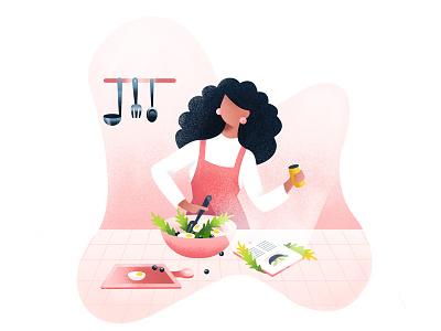 online recipe icon illustration design cooking recipe salad food tab vector illustrator girl women kitchen chef ui