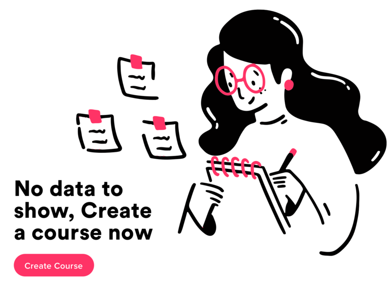 Create New Course notebooks pen stationary notebook notes student flat typography minimal vector web office mobile icon women girl ux design ui illustration
