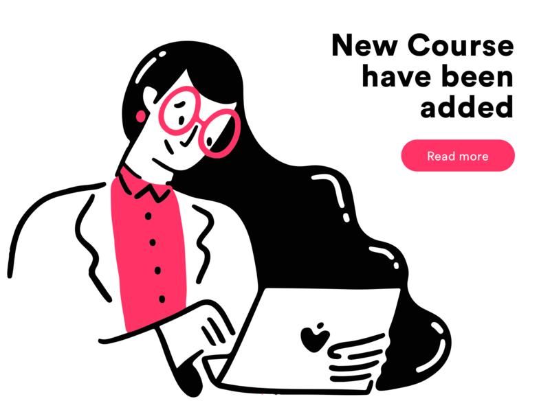 New Course course laptop work office minimal vector app web design icon girl ux ui illustration