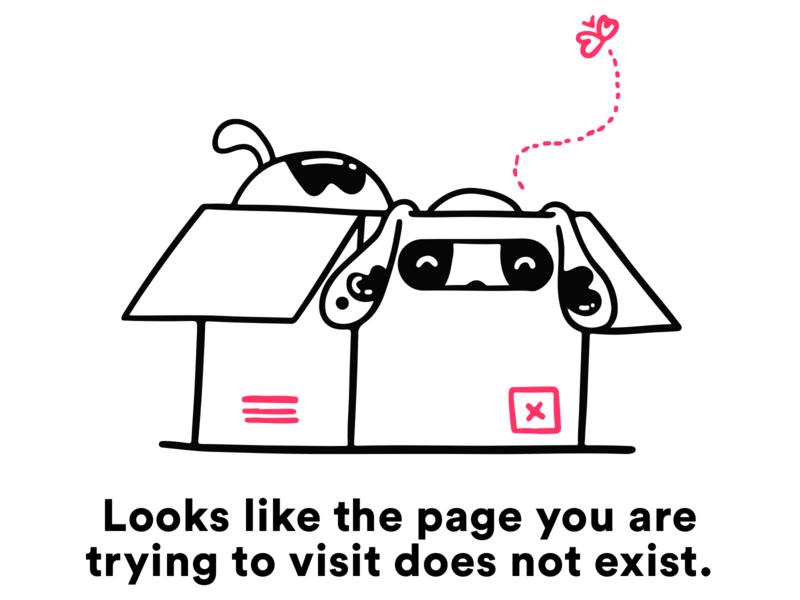 Error Page 404 error error 404 dog typography minimal vector app office mobile web icon girl ux design ui illustration