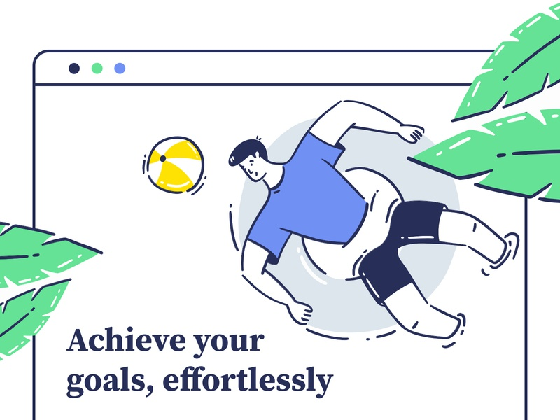 Achieve your Goals graphic swiming plant relax chill minimal leaf boy vector app mobile design ux ui illustration