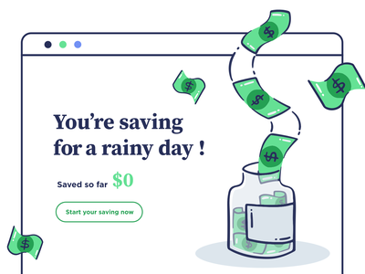 Start Saving investment bank save rain jar saving money design vector app web icon ux ui illustration