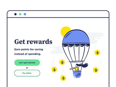 Get Rewards airballoon vector ux save money web girl design ui illustration
