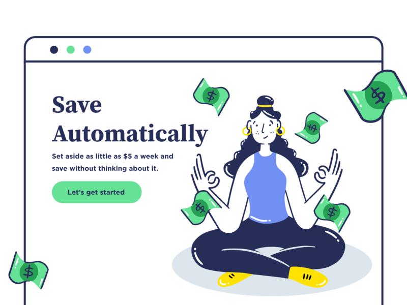 save automatically save claim saving money relax yoga graphic minimal vector office app web icon girl ux design ui illustration