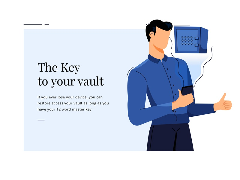 the key to your vault vault bitpay money bank men boy vector office mobile ux design ui illustration