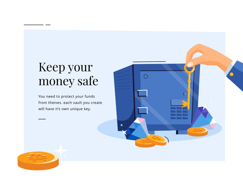 keep your money safe bitpay safe vault coin money bank key men boy vector app office mobile web icon ux design ui illustration