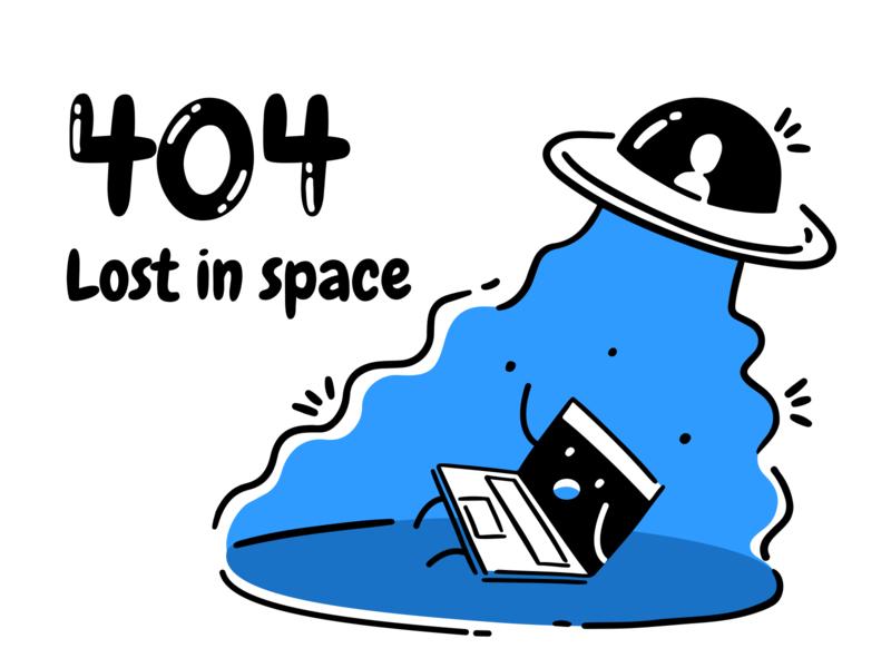 404 lost in space 404page 404 error error page error 404 typography minimal vector app office icon ux design ui illustration