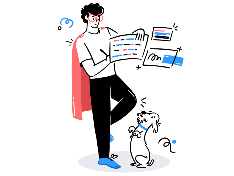 Manage your own task superhero line art doodle art card cart workpalce study task chill happy puppy dog boy app office web icon ux ui illustration