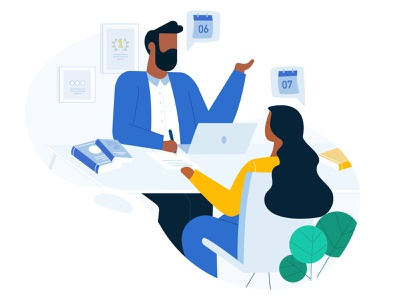 Client meeting graphic icon ux ui design girl boy chair leaf plant book books officer office space meeting office illustration client