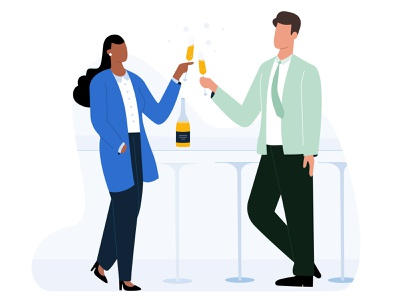 Success party vector boy girl design ui lawyer champagne wine office success party workspace work client work illustration