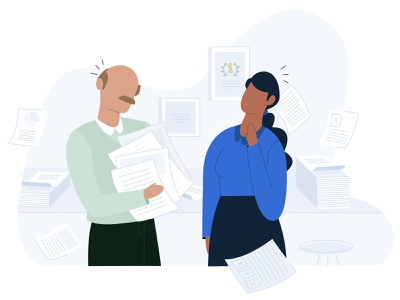 Ooooooops ! days client work hectic office design papers paper day busy boy vector office girl ux design ui illustration