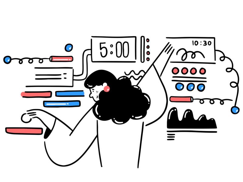 Settings office vector setting web icon girl ux design ui illustration illustrations