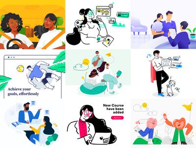 Top 9 of 2019 top nine best of 2019 appstore graphic top9of2019 top9 2019 trends lineart line web product 2020 2019 best9 vector ux design ui illustration