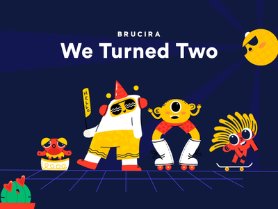 Second Anniversary 🎉 character graphic uiux 2 brucira night chill disco dance celebration party happybirthday birthday anniversary video gif web design illustration