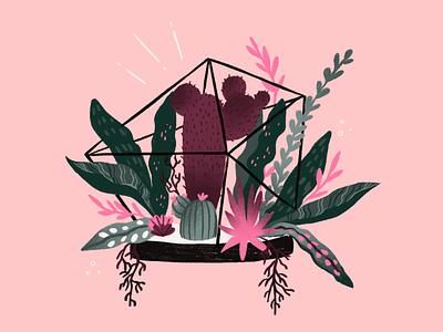 01-2020 - Terrarium plants procreate terrarium illustration draw