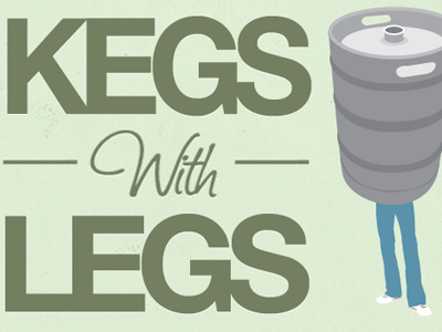 Kegs with legs, close crop of poster