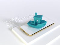 Happy 3D Printing Day software white photon iphone gold benchy texture stl 3d vectary render design